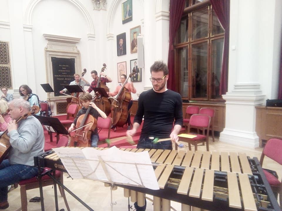 Spanish drummer Manuel Alcaraz Clemente and members of GUO